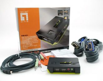 LEVELONE KVM SWITCH 2xPORTS USB W/AUDIO (INCLUI CABOS) – KVM-0221